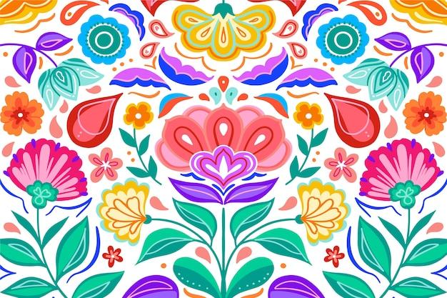 Fondo colorido gradiente de flores mexicanas vector gratuito
