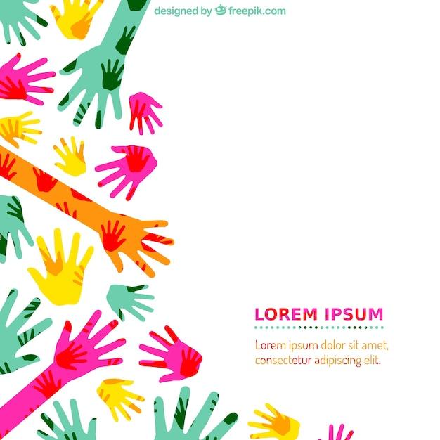 Fondo colorido manos vector gratuito