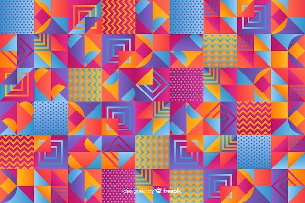 Fondo colorido de mosaico geométrico en estilo degradado vector gratuito