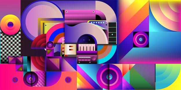 Fondo colorido de la música de la ilustración del vector Vector Premium