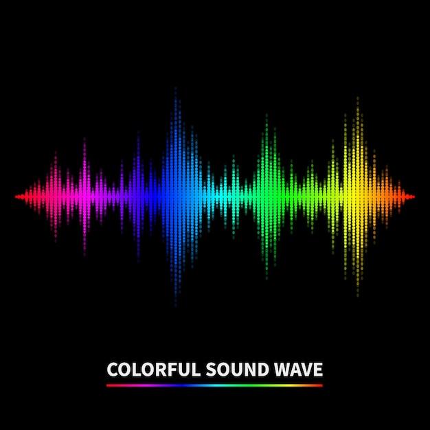 Fondo colorido de la onda de sonido. ecualizador, swing y música. ilustración vectorial vector gratuito