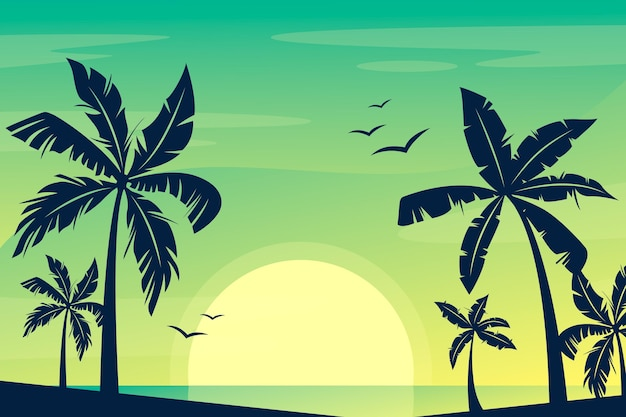 Fondo colorido siluetas de palmeras Vector Premium