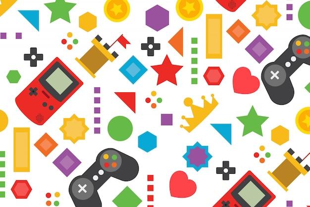 Fondo colorido de videojuego en diseño plano Vector Premium