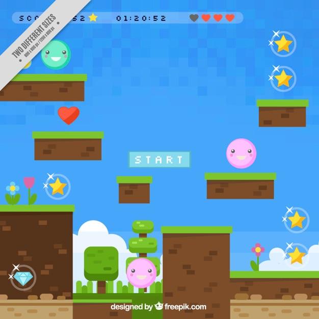 Fondo colorido de videojuego vector gratuito