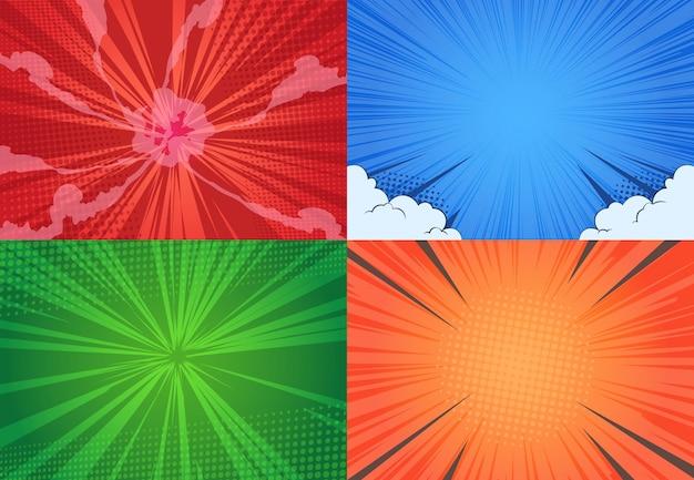 Fondo de cómic diseño de punto de semitono de arte pop de dibujos animados, efecto de cómic de explosión de línea, vs arte gráfico retro. Vector Premium