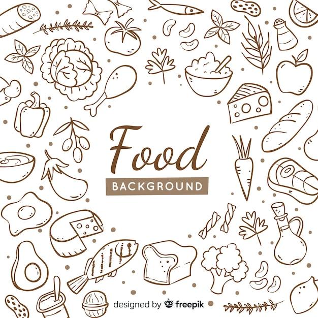 Fondo de comida dibujado a mano Vector Premium