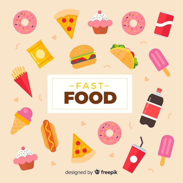 Fondo de comida en diseño plano Vector Premium