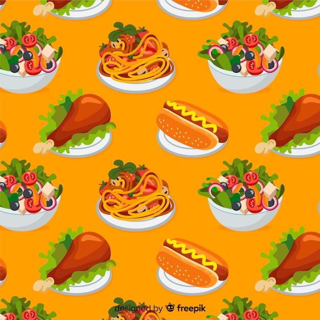 Fondo de comida en diseño plano vector gratuito
