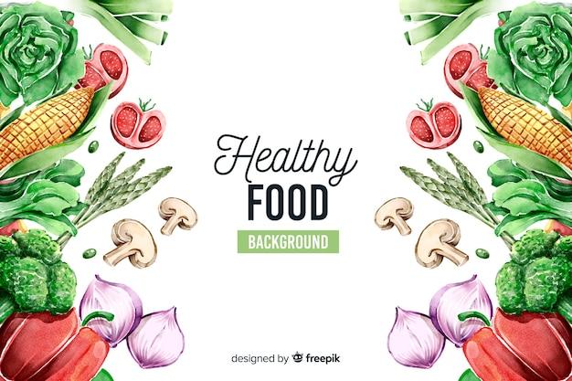 Fondo comida fresca dibujada a mano vector gratuito