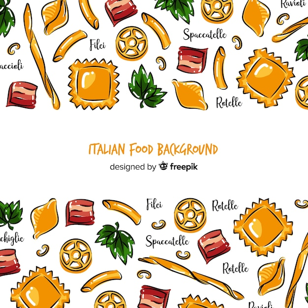 Fondo comida italiana dibujado a mano vector gratuito