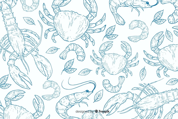 Fondo de comida natural dibujado a mano vector gratuito