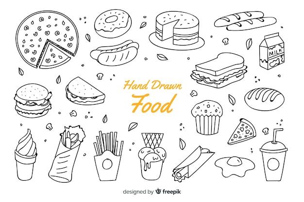 Fondo de comida en pizarra dibujado a mano vector gratuito