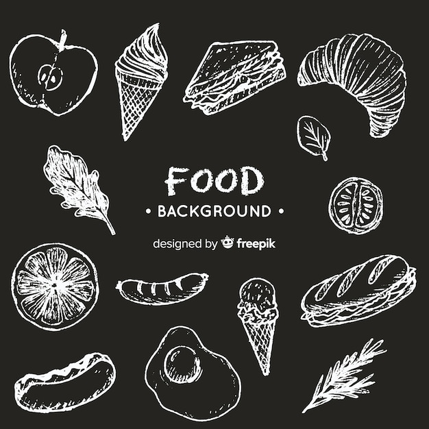 Fondo de comida en pizarra vector gratuito