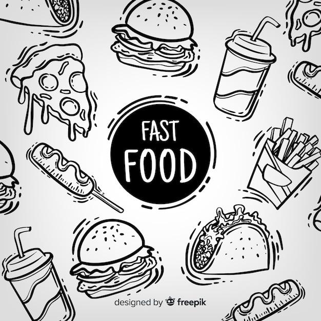 Fondo comida rápida dibujado a mano vector gratuito