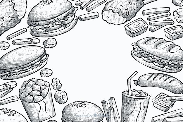 Fondo de comida rápida dibujado a mano vector gratuito