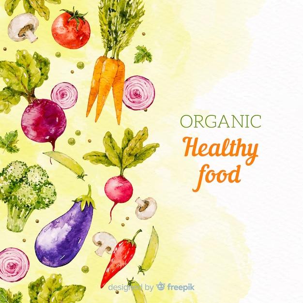 Fondo de comida saludable en acuarela vector gratuito