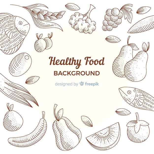 Fondo comida saludable dibujada a mano vector gratuito