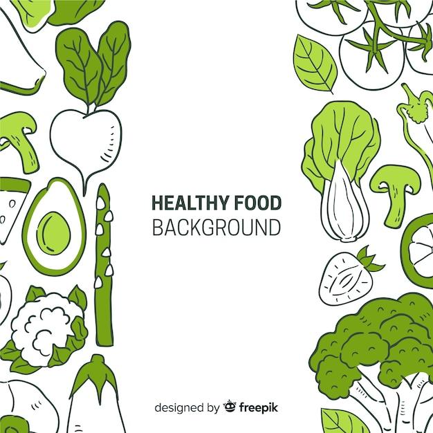 Fondo de comida saludable dibujada a mano vector gratuito