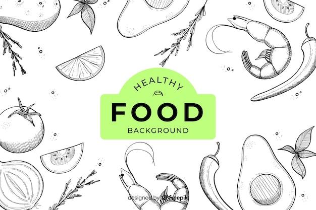 Fondo de comida saludable dibujadas a mano vector gratuito
