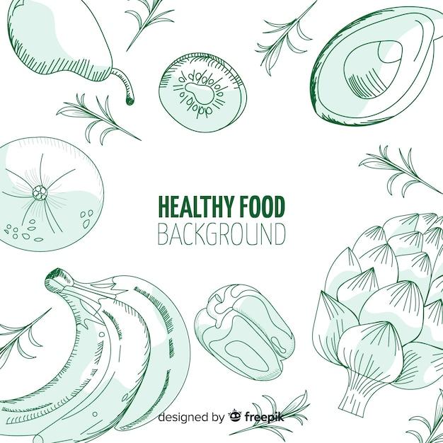 Fondo de comida saludable dibujado a mano vector gratuito