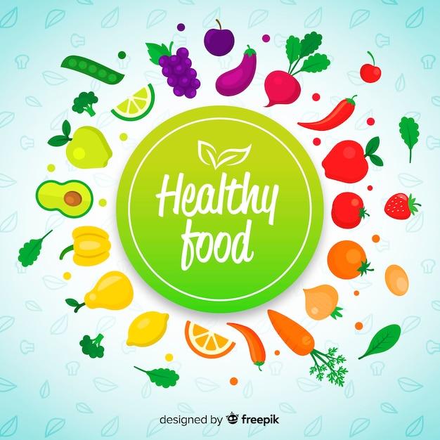 Fondo de comida saludable en diseño plano vector gratuito