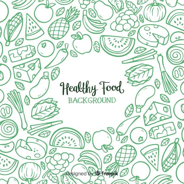 Fondo de comida sana Vector Premium