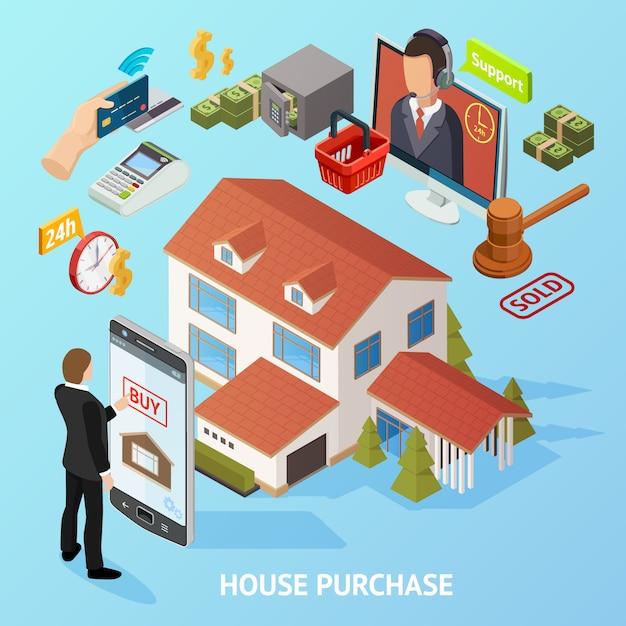 Fondo de compra de casa isométrica vector gratuito