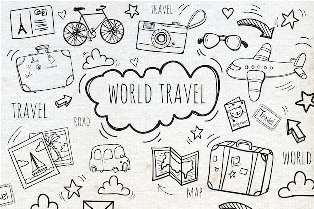Fondo con bocetos de viaje  Vector Gratis