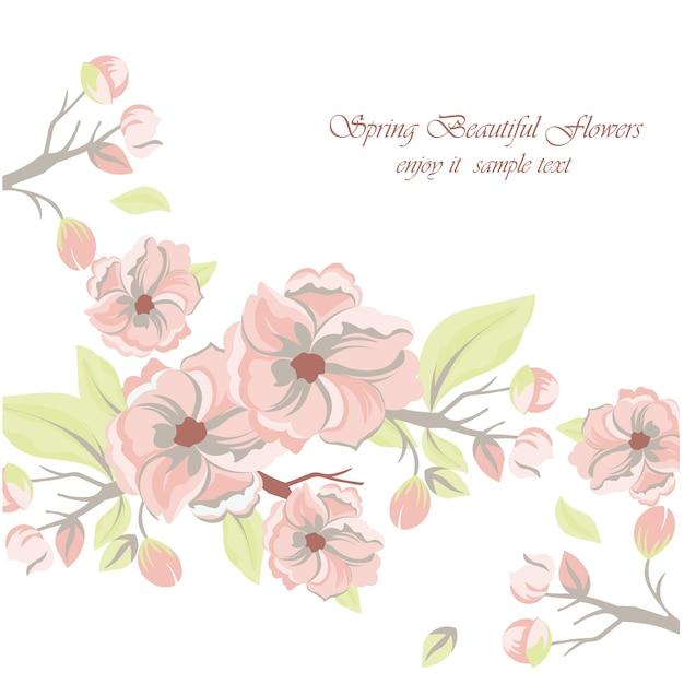 Fondo con flores bonitas de primavera Vector Gratis