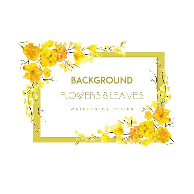 Fondo con marco de flores amarillas | Descargar Vectores gratis