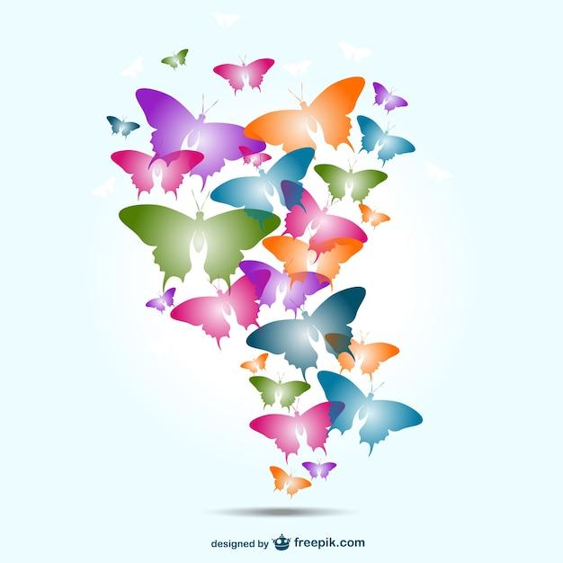 Fondo con mariposas de colores descargar vectores gratis - Imagenes de mariposas de colores ...