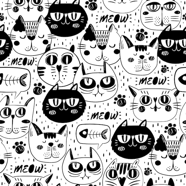 Fondo con patrón de caras de gato Vector Gratis