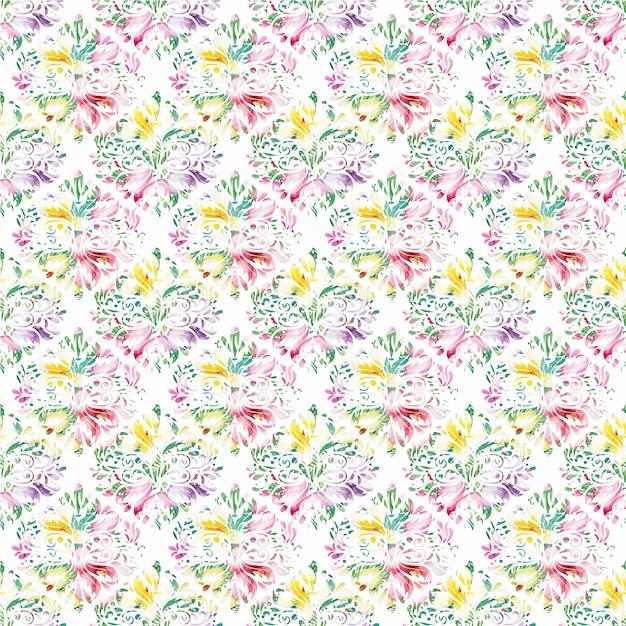 Fondo con patrón de flores multicolor   Descargar Vectores gratis
