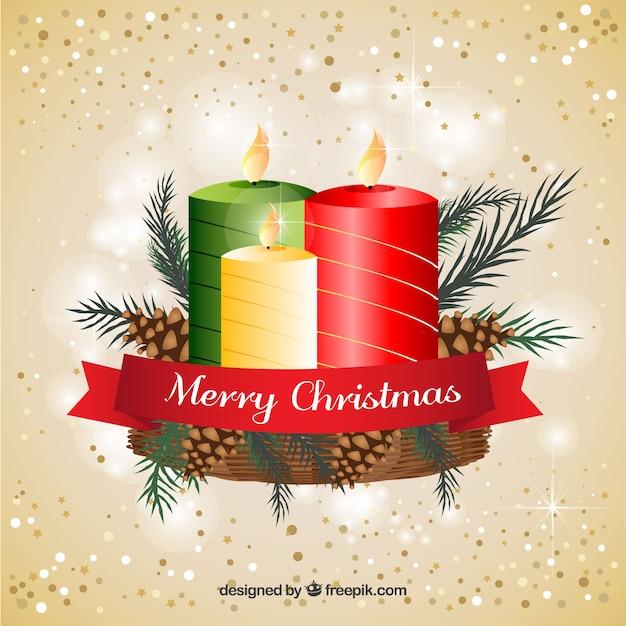 Fondo con velas de navidad decoradas con pi as descargar vectores gratis - Velas decoradas para navidad ...
