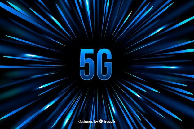 Fondo de concepto 5g con fondo de líneas de velocidad azul vector gratuito