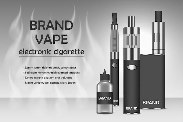 Fondo de concepto de cigarrillo electrónico de vapor Vector Premium