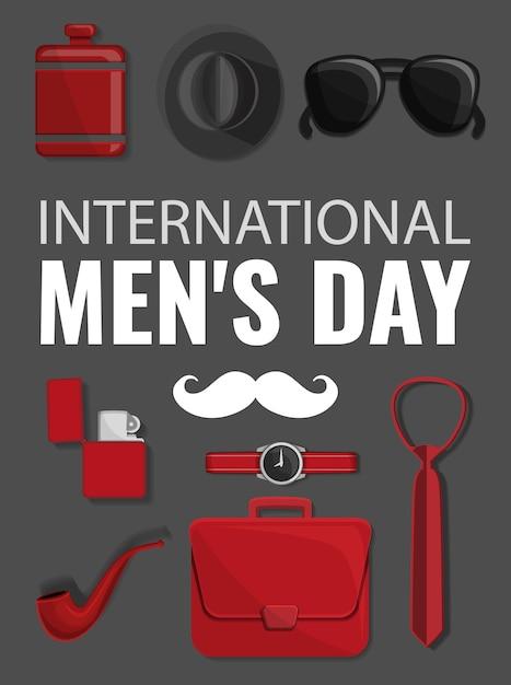 Fondo de concepto de día de hombres, estilo de dibujos animados Vector Premium