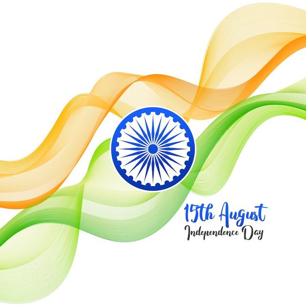 Fondo de concepto de día de la independencia de india con rueda de ashoka. Vector Premium