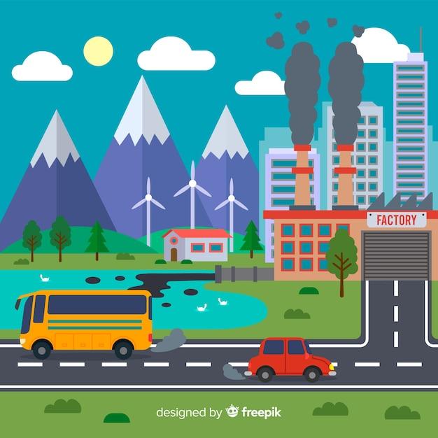 Fondo concepto ecosistema vs polución vector gratuito