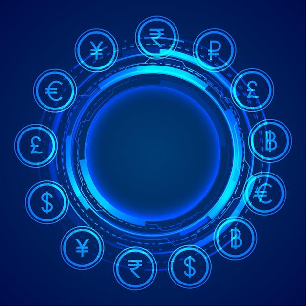 Fondo de concepto de iconos de moneda global digital vector gratuito