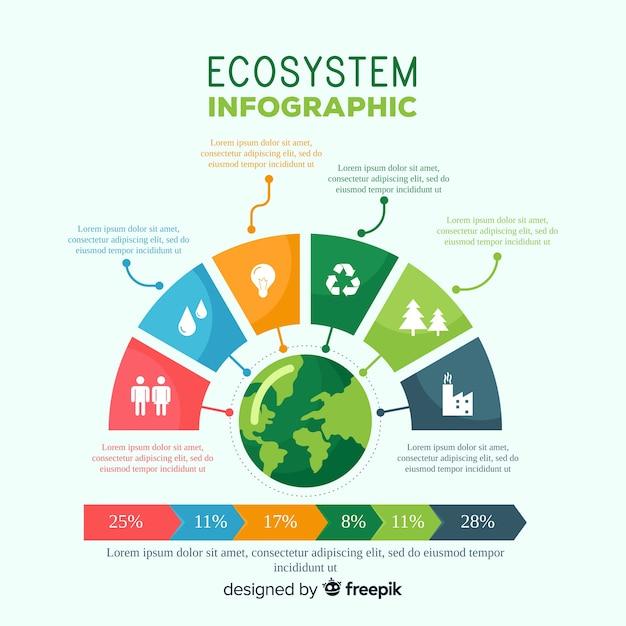 Fondo concepto infografía ecosistema vector gratuito