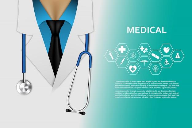 Fondo de concepto de innovación médica de atención médica Vector Premium