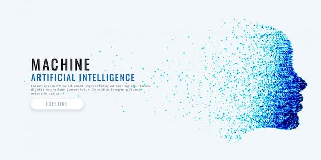 Fondo de concepto de inteligencia artificial de cara difital vector gratuito