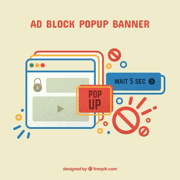 Fondo de concepto popup de bloque de anuncios en estilo plano vector gratuito