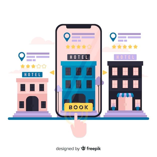 Fondo concepto reserva hotel vector gratuito
