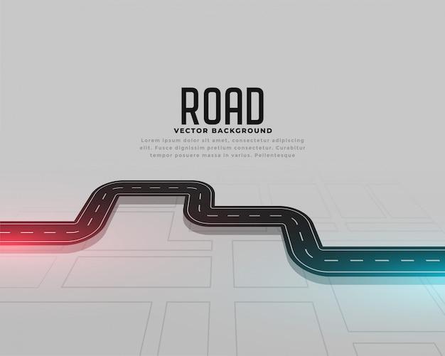 Fondo del concepto de la ruta del viaje del mapa de camino vector gratuito