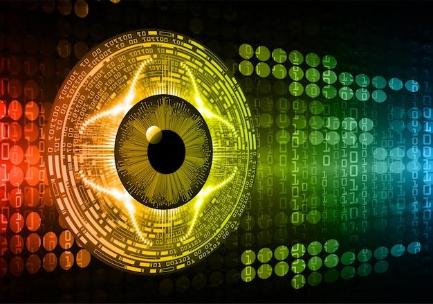 Fondo de concepto de tecnología futura de circuito cibernético de ojos rojos azules Vector Premium