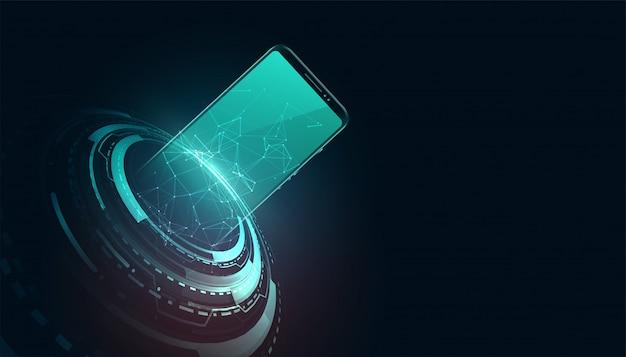 Fondo de concepto de tecnología móvil futurista digital vector gratuito