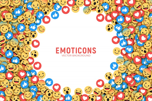 Fondo conceptual de facebook flat emoji moderno Vector Premium
