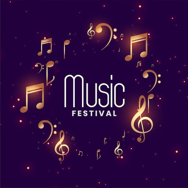 Fondo de concierto del festival de música con notas musicales doradas vector gratuito